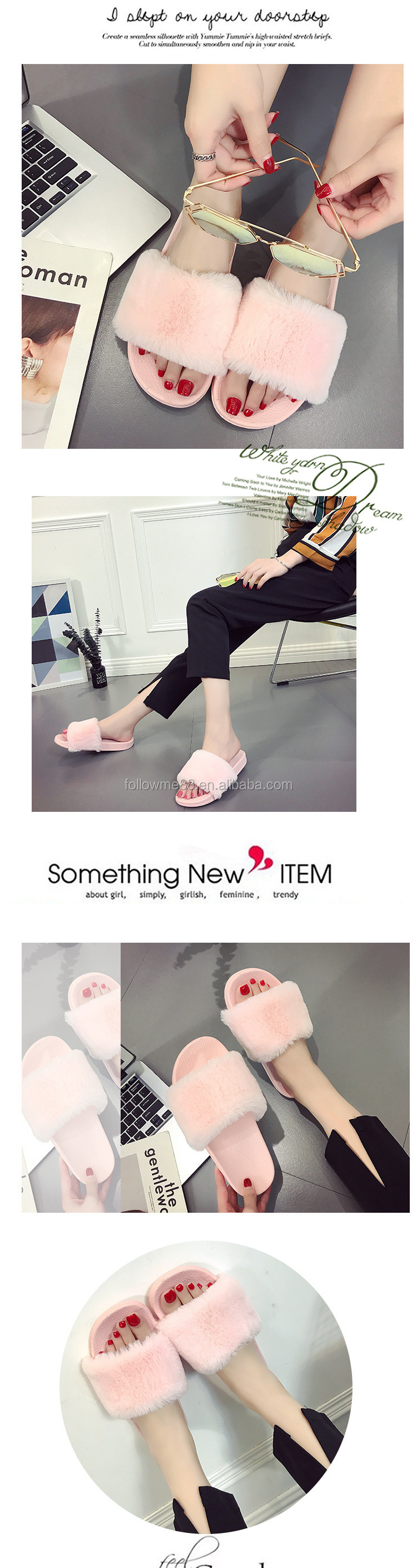 New Fashion Indoor Outdoor Antiskid Slippers Faux Fur Wearproof Women Slippers fur sandals S7a