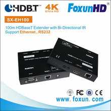 FOXUN OEM EH100 4K x 2K HDMI Transmitter Wifi over Ethernet 100m HDBaseT Extender with IR RS232