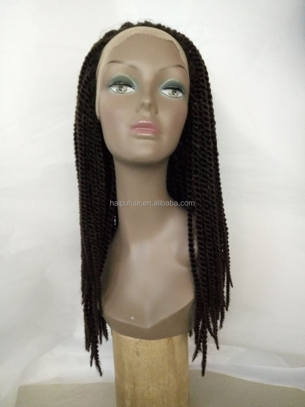 "Hot Sale Synthetic hand- knitted #1b 24"" twist braid lace wig"