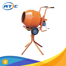 Cement mixer with stander, horizontal portable concrete mixer with plastic drum, 0.5HP concrete mixer