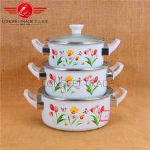 110DG enamel casserole set pot 3pcs enamel cast iron cookware