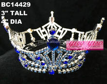 blue rhinestone costume cheap beauty decoration princess tiara