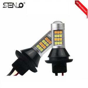 Canbus LED auto light 12V switchback white amber turn signal light 1156 3156 7440 T20 dual color turn light led drl 42smd 2835