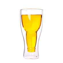 2018 hot selling double wall clear pyrex glass beer cup beer glass