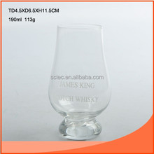 190ml whisky glass with narrow mouth and small bottom