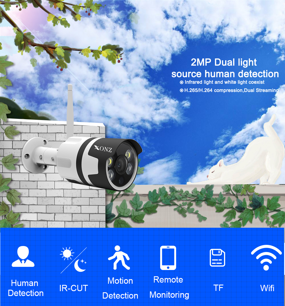 The newest tech  double light source  humanoid motion detection P2P  2MP wireless waterproof IP66 wifi camera