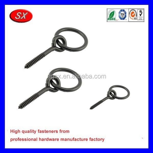 factory directly custom Compare Rope Ring Screws, Black coating steel eye screws