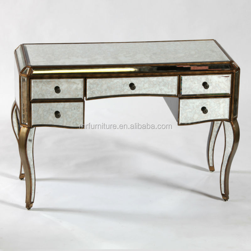 Mr 401051c antique gold distressed mirrored dressing table for Dressing table 85cm