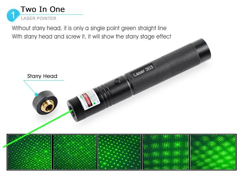 High Power Laser 303 Powerful 532nm Green Laser Pointer Burn Match Pop Balloon Laser Pen Set Fire to Matches