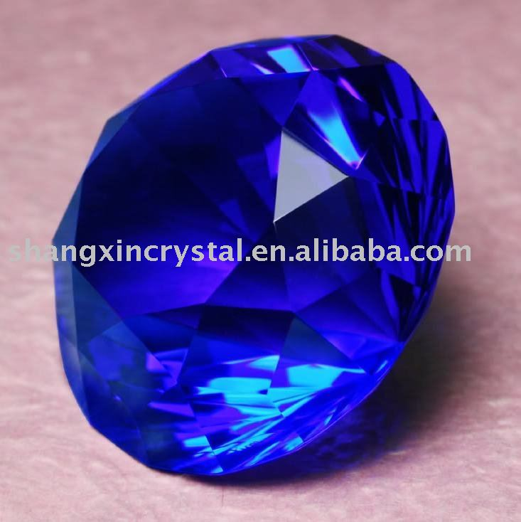 Blue Sappire Crystal diamond Shaped paperweight