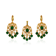 64101xuping jewellery AAA CZ gold plated indian new design 24k gold jewelry set
