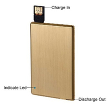 mini slim portable metal card usb flash drive power bank 1000mah for mobile phone