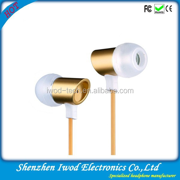 Electronic item for 2015 importers mobile phone earpiece stereo earbud headset for desktop, gold