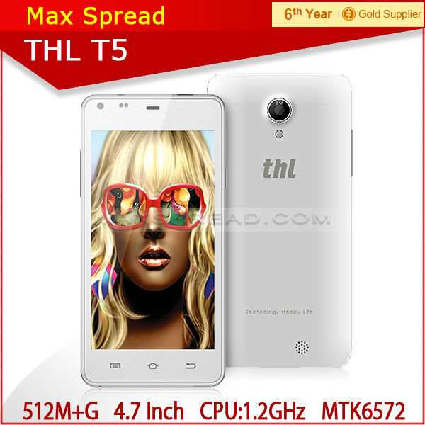 "4.7"" MTK6572 Dual Core 3G Android 4.2 THL T5 unlocked Android smart mobile Cheap Phone"