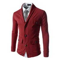 1 pc sale 4 buttons and pockets decoration 6 colors for choice cotton and polyester mixed knitted blazer for men