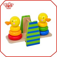 Kids Toy Kids Cute Duckling Tower Craft Wooden Balance Toy