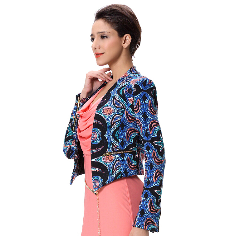 Wholesale Ladies Satin Printing Formal Blazer Women Jacket