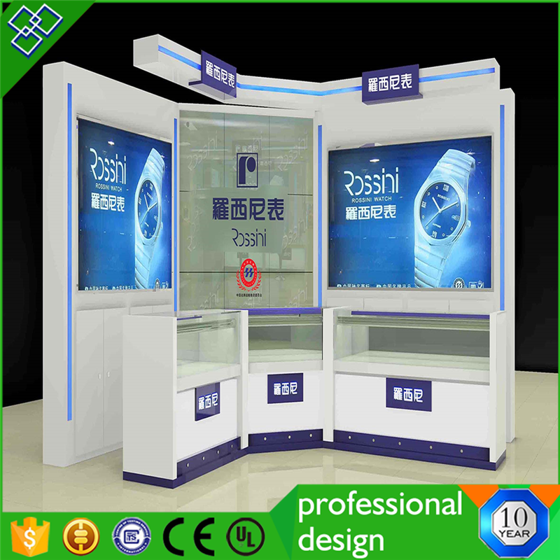 Cosmetic Store Display Counter With Glass Display Case Front Design