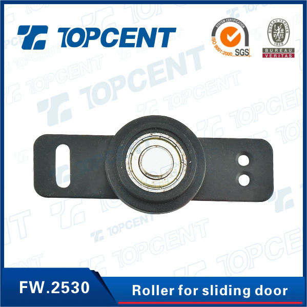 [FW.2530] Iron and nylon black cabinet sliding door roller system