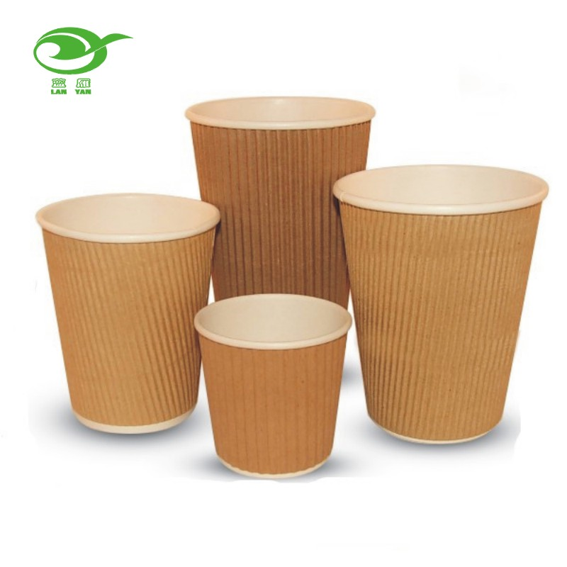 8oz Brown Kraft Paper Ripple Cups Wholesale coffee paper cup