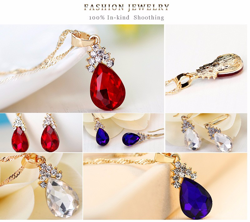 Fashion Colorful Crystal Jewelry Set Wddding Wholesale NSDR-0005