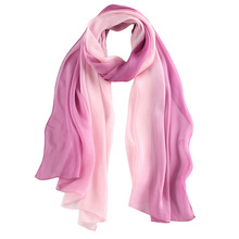 Newest arrived double sided 100% silk shawl own design silk scarf long style muslim silk shawl