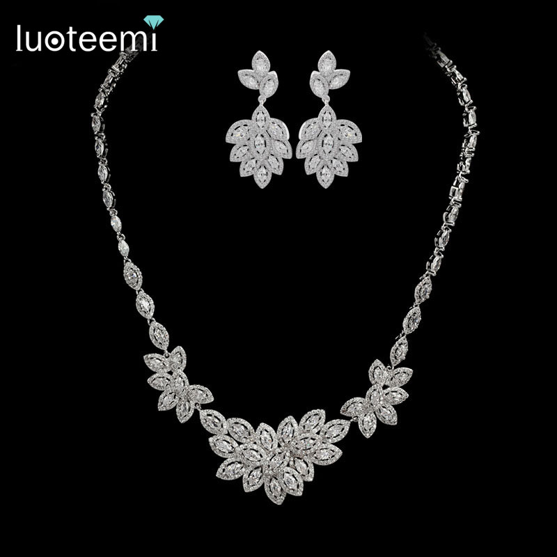 LUOTEEMI 2015 Luxury Wedding Party Jewelry Zircon Rhodium Plated Women Jewelry <strong>Set</strong>