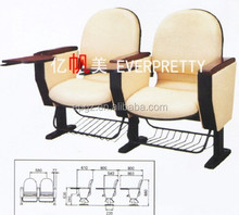 Conference Used Modern Comfortable Foldable Fabric Auditorium Chairs With Writing Pad