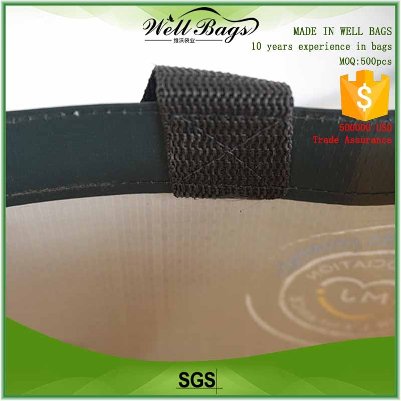 custom PP woven laminated green reusable grocery bags with logo alibaba trade assurance