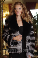 Chinchilla Rabbit Natural Real Fur Jacket, Collar Made of Real Natural Polar Fox Fur in Black.