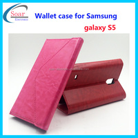 Hot selling leather case for Samung galaxy S5,wallet case for Samsung galaxy S5,flip cover case for S5