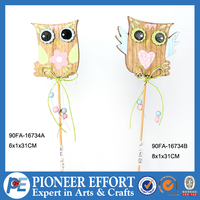 Wooden garden stake of festival decoration of owl design