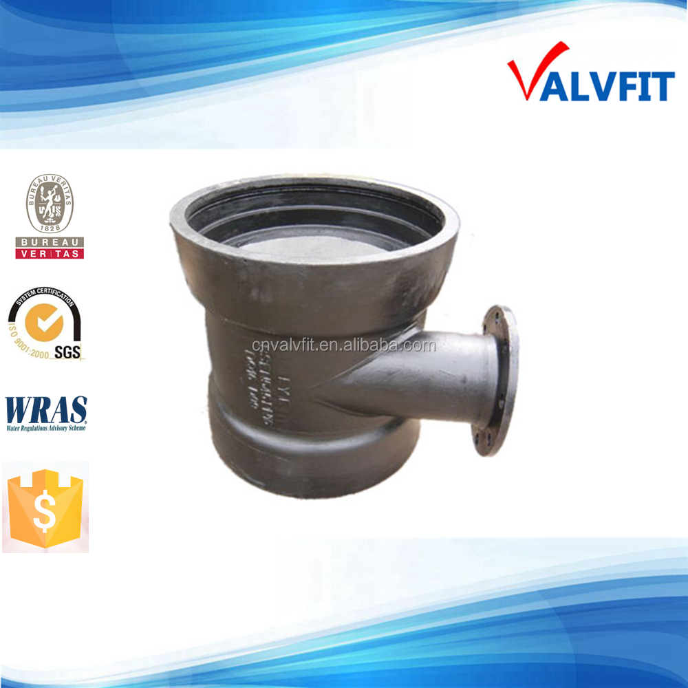 Ductile iron fittings socket tee with flange branch