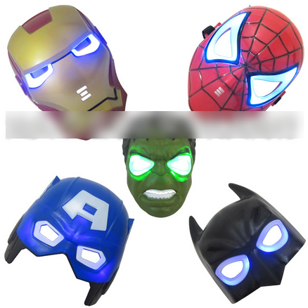 2015 LED Masks Light Spider Man Captain America Hulk Iron Man Mask For Kids Adults Party Halloween