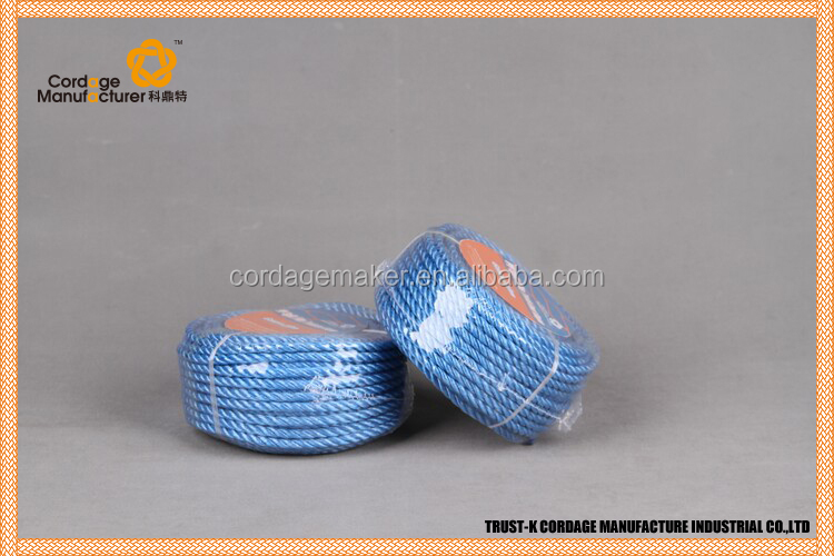 Hot selling! PP Split Film 3-strand Twisted Rope/yellow and blue PP split film