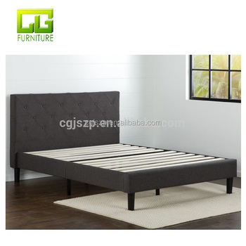 Upholstered Diamond Stitched Platform Bed linen fabric bed