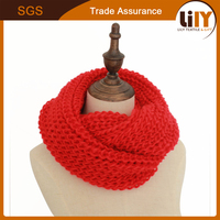 Winter Warm Infinity 2 Circle Cable Knit Cowl Neck Long Scarf Shawl