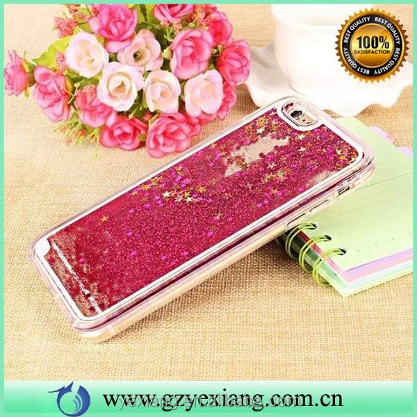 New products 2016 bling glitter phone case for iphone 6 plus liquid back cover