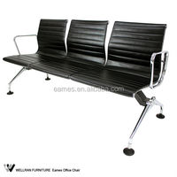 New Beauty Deluxe Heavy Duty Black Reception Area Airport Waiting Room Bench Chair 2-4 Seat