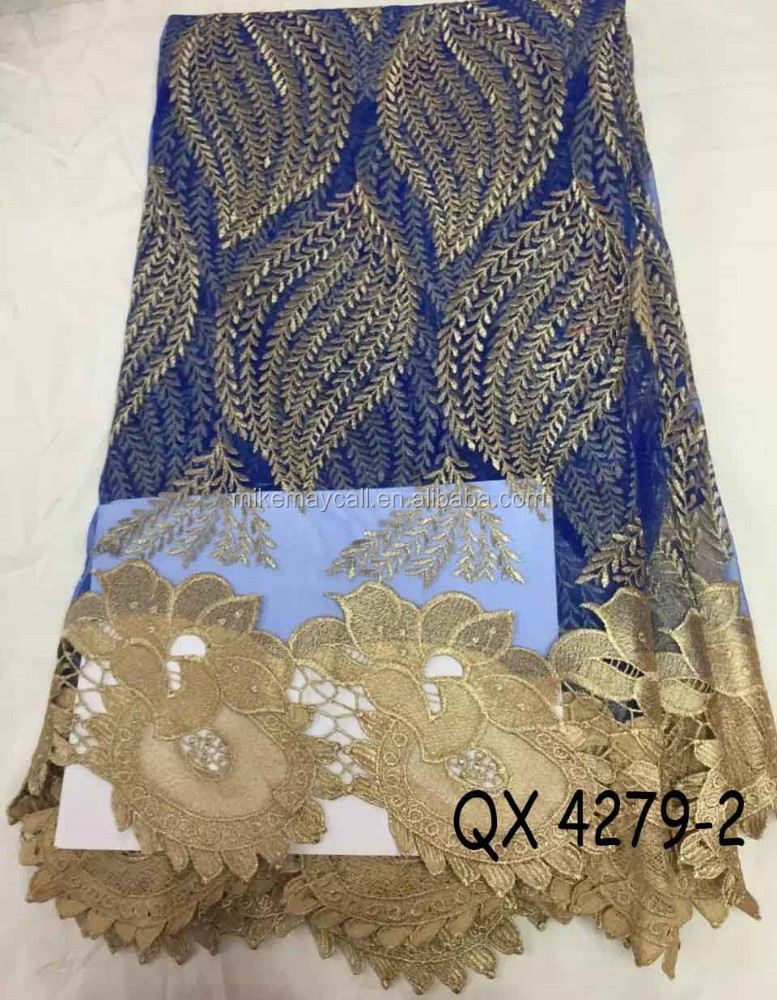 high quality french lace fabic/embroidery lace fabric fashion design QX4279-2