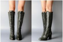 Model Show Burst Style The Real Thing Genuine Leather Knee-High Boots Retro Round Toe High Heels Knight Boots Add Wool