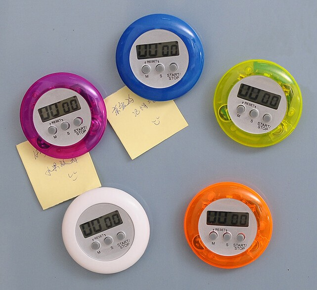 Round Shape Mini LED Electrical Kitchen Digital Timer for Cooking