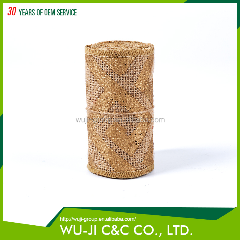 All Kinds Of Dissimilarity 100%Jute Natural Burlap Wide Ribbon with Gold Print for Packaging Gifts