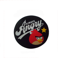 Silicone pvc round crazy bird rubber patch label for kids