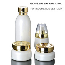 30G 50G 30ML 120ML EMPTY WHITE GLASS OLIVE OIL BOTTLE SET WITH CREAM JAR