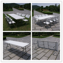 Outdoor furniture 8ft plastic folding camping folding tables and chairs set, plastic folding dining table for party rentals