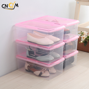 Plastic PP clear transparent shoe display box baby children and adult shoe storage box