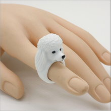 Can be customized/ white plated engraved cute dog resin ring