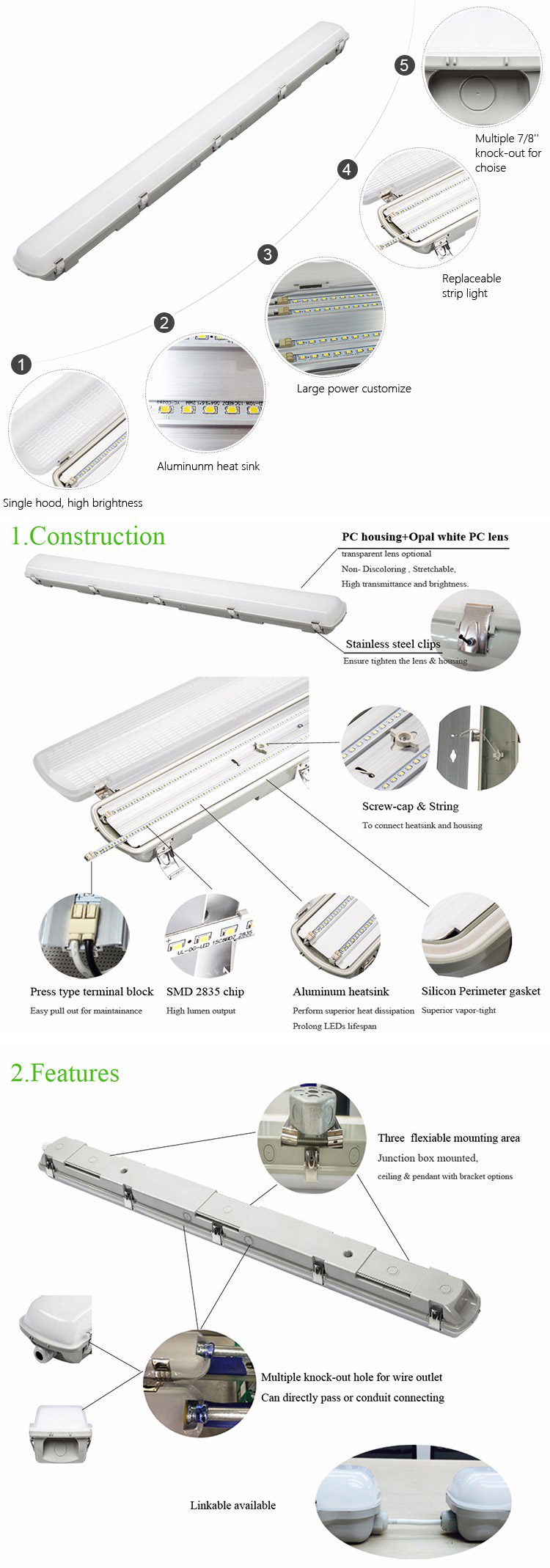 China OGJG Warehouse parking lot IP66 dimming emergency motion sensor fixture waterproof led light