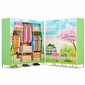 modern portable folding non woven fabric bedroom cloth display wardrobe pictures